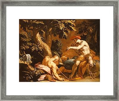 Mercury And Argus Oil On Canvas Framed Print