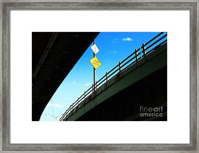 Merge Traffic On Highway Bridge Bronx New York City Framed Print by Sabine Jacobs