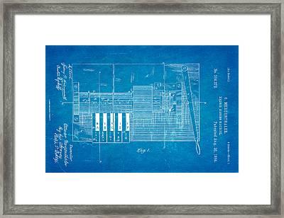 Mergenthaler Linotype Printing Patent Art 1884 Blueprint Framed Print by Ian Monk