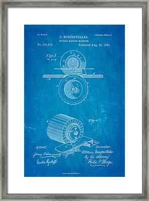 Mergenthaler Linotype Printing Patent Art 3 1884 Blueprint Framed Print by Ian Monk