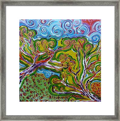 Merging In The Trees Framed Print by Gioia Albano