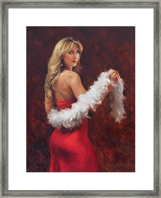 Meri In Red Framed Print by Anna Rose Bain