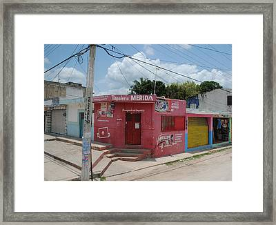 Merida Mexico Street Corner Framed Print by Robert  Moss