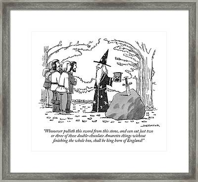 Merlin Addresses A Crowd In Front Of The Sword Framed Print