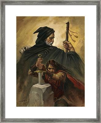 Merlin And Arthur Framed Print by Alan Lathwell