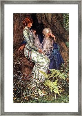 Merlin And Vivien Framed Print by Eleanor Fortescue Brickdale
