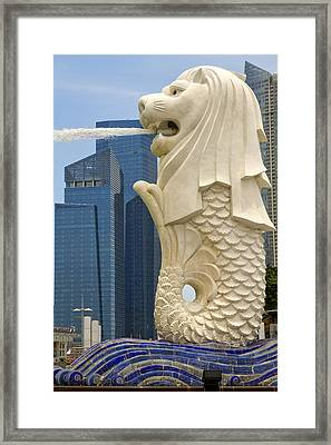 Merlion Statue By Singapore River Framed Print by David Gn