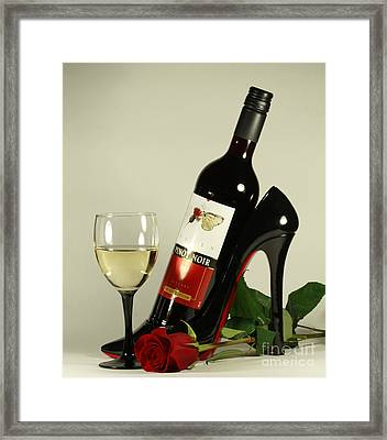 Merlot Wine And Red Rose Framed Print by Inspired Nature Photography Fine Art Photography