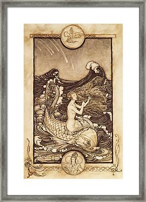 Mermaid And Dolphin From A Midsummer Nights Dream Framed Print by Arthur Rackham