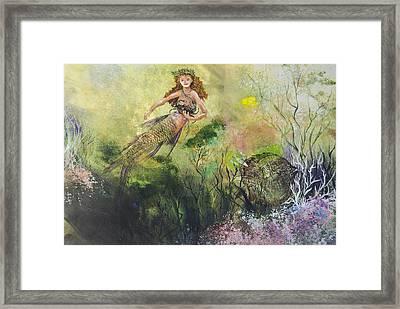 Mermaid And Friends Framed Print by Nancy Gorr
