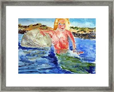 Mermaid And The Buoy Framed Print