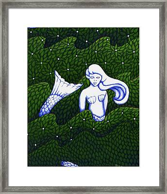 Mermaid At The Garden Framed Print by Donna Huntriss