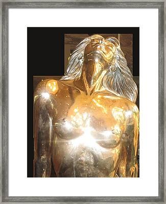Mermaid Fish Woman Sculpture Framed Print by Navin Joshi