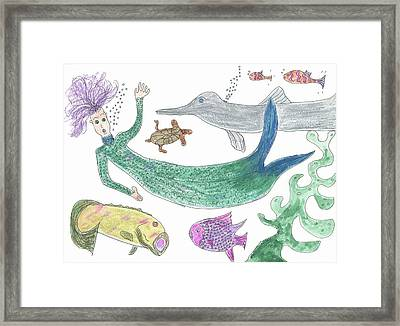 Framed Print featuring the painting Mermaid Hello by Helen Holden-Gladsky