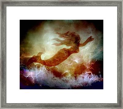 Mermaid In A Storm Framed Print by Irma BACKELANT GALLERIES