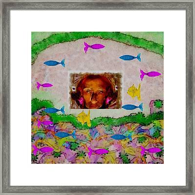 Mermaid In Her Cave Framed Print