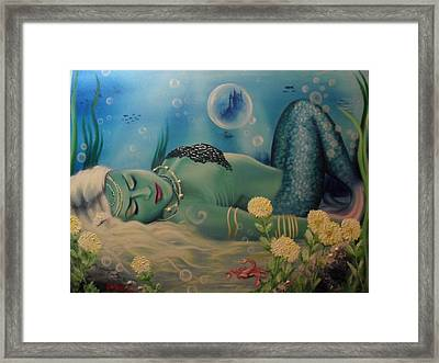 Mermaid In Seabed Framed Print by Lefteris Skaliotis