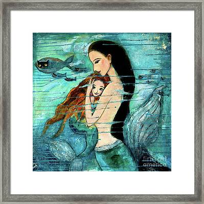 Mermaid Mother And Child Framed Print by Shijun Munns