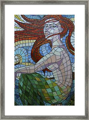 Mermaid Multi-colored Glass Mosaic  Framed Print by Renee Anderson