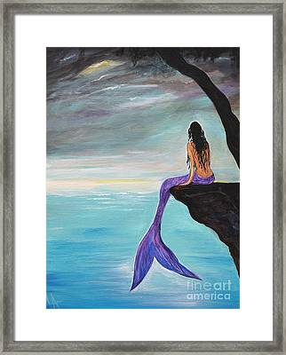Mermaid Oasis Framed Print by Leslie Allen