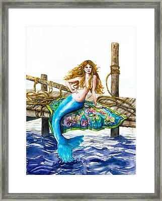 Mermaid On A Dock Framed Print by Patricia Allingham Carlson