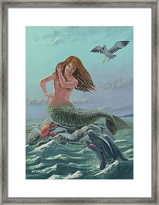 Mermaid On Rock Framed Print by Martin Davey