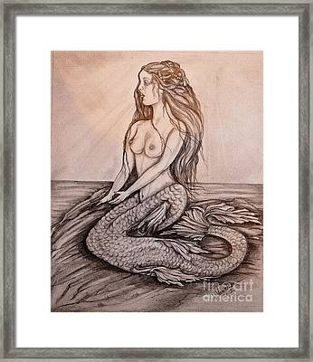 Mermaid On Rock Framed Print by Valarie Pacheco