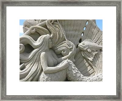 Mermaid Sand Sculpture Framed Print