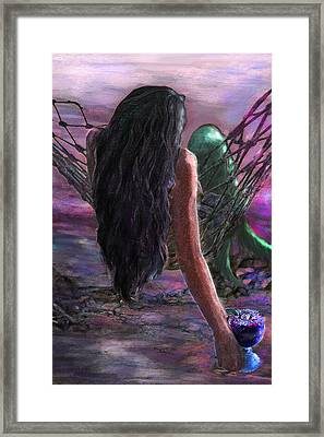Mermaid Sunset With Cocktail Framed Print