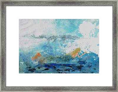 Mermaid Swimming With Dolphins Framed Print