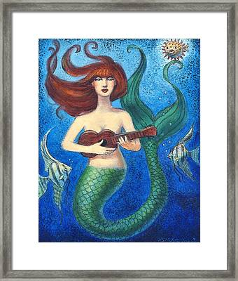 Framed Print featuring the painting Mermaid Ukulele Angels by Sue Halstenberg
