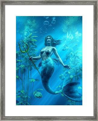 Mermaid Underwater Framed Print by Kaylee Mason