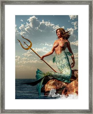 Mermaid With Golden Trident Framed Print