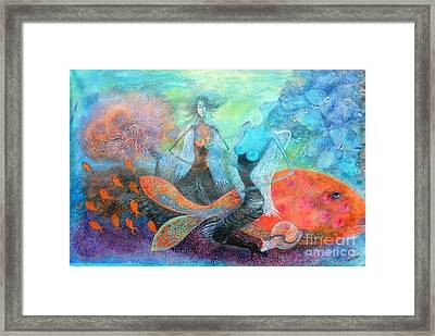 Mermaid World Framed Print by Vandana Devendra
