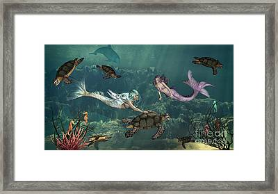 Mermaids At Turtle Springs Framed Print