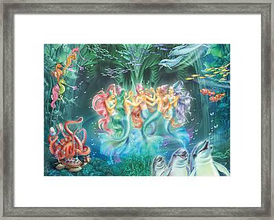 Mermaids Danicing Framed Print by Zorina Baldescu