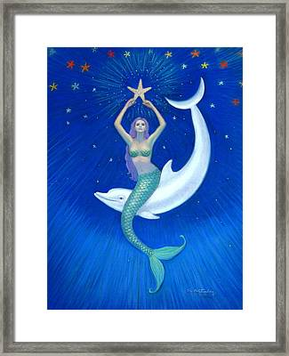 Mermaids- Dolphin Moon Mermaid Framed Print