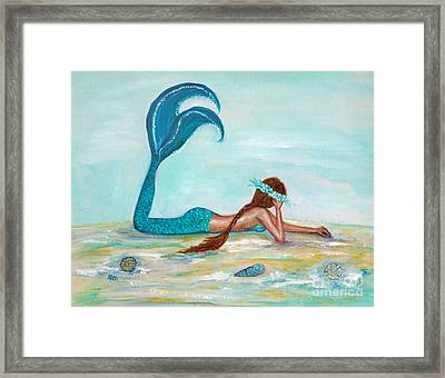 Mermaids Exist Framed Print by Leslie Allen