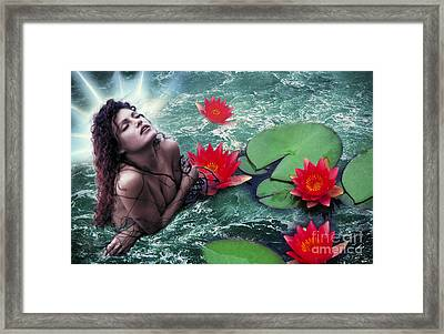 Mermeid And Water Lilies Framed Print by Renata Ratajczyk