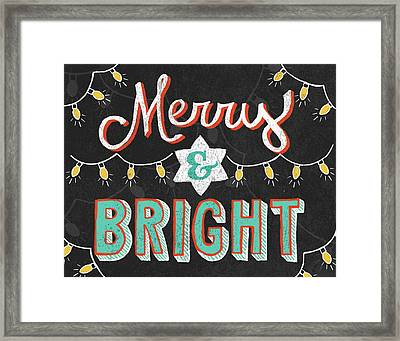 Merry And Bright Black Framed Print