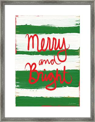 Merry And Bright- Greeting Card Framed Print by Linda Woods