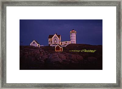 Merry Christmas At Nubble Framed Print by Skip Willits