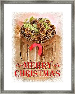 Merry Christmas Barrel Framed Print by Cristophers Dream Artistry