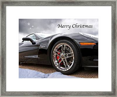 Merry Christmas Corvette Framed Print by Gill Billington