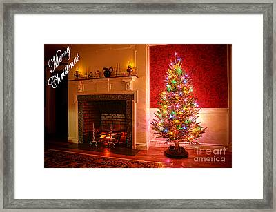 Merry Christmas Fireplace Framed Print by Olivier Le Queinec