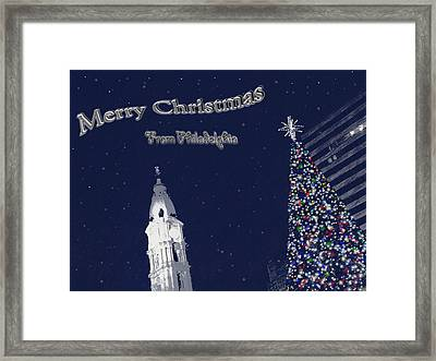 Framed Print featuring the photograph Merry Christmas From Philly by Photographic Arts And Design Studio