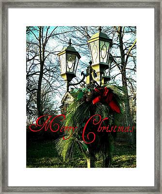 Merry Christmas Greeting Card Framed Print by Chris Berry