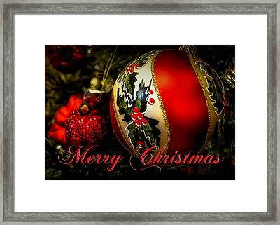 Merry Christmas Greeting Card Framed Print by Julie Palencia