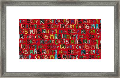 Merry Christmas Happy New Year Red Framed Print