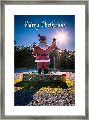 Merry Christmas Santa Claus Greeting Card Framed Print